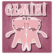 Zodiac sign Gemini with cute colorful monster - stock illustration