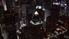 Close night flight over Times Square area. Shot in 2005. Stock Footage