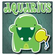 Zodiac sign Aquarius with cute colorful monster - stock illustration