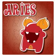 Zodiac sign Aries with cute colorful monster Stock Illustration