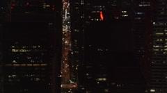Night flight west across midtown Manhattan . Shot in 2005. Stock Footage