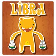 Zodiac sign Libra with cute colorful monster - stock illustration