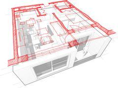 Apartment diagram with hand drawn floorplan diagram - stock illustration