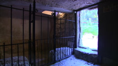 Left pan from inside The Garden Tomb in Jerusalem Stock Footage