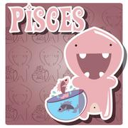 Zodiac sign Pisces with cute colorful monster Stock Illustration