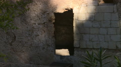 View from outside of entrance to The Garden Tomb in Jerusalem Stock Footage