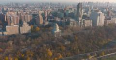 Grants Tomb and Riverside Church Helicopter Aerial Shot Stock Footage