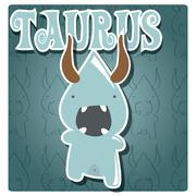 Zodiac sign Taurus with cute colorful monster Stock Illustration