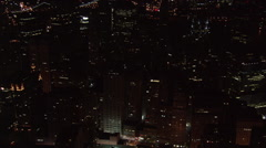 Night flight over Manhattan looking back toward midtown. Shot in 2005. Stock Footage