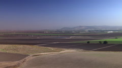 Left pan of Israel's Megiddo Valley and its agriculture Stock Footage