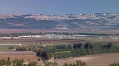 Zoom-out to wide view of Israel's Valley of Megiddo Stock Footage
