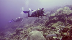 Scuba divers drift diving in current over coral reef Stock Footage