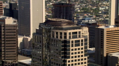 Close flight past downtown Phoenix skyscrapers. Shot in 2007. - stock footage