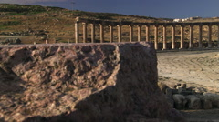 Ruins of the Roman forum at Jerash, Jordan Stock Footage