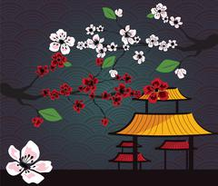 Japanese card with cherry blossom, sakura and traditional Japanese elements - stock illustration
