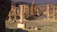 Gate to ancient theater in the ruins of Jerash in Jordan Stock Footage