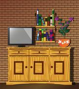 Living room with dresser, TV, bookshelf and flower - stock illustration