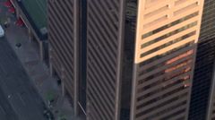 Ascending flight through skyscrapers in downtown Phoenix. Shot in 2007. - stock footage