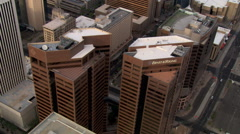 Orbiting above downtown Phoenix skyscrapers. Shot in 2007. - stock footage