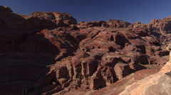 Right pan over sandstone hills at Petra, Jordan Stock Footage