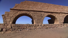 Right pan of Roman aqueduct at Caesarea, Israel Stock Footage