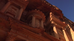 Facade of Al Khazneh, the ancient Treasury at Petra, Jordan Stock Footage
