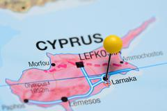 Larnaka pinned on a map of Cyprus - stock photo