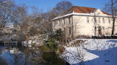 4k Botanic garden river Braunschweig snow winter Stock Footage