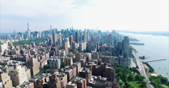Aerial Shot Viewing 432 Park Ave From Morning Side Stock Footage