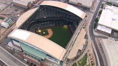 Close orbit of Chase Field in Phoenix, with roof retracted; home stadium of Stock Footage