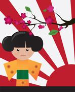 Little cute Japanese geisha character card with place for text, vector - stock illustration