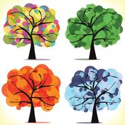 Abstract vector seasonal trees - stock illustration