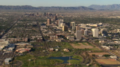 Wide approach toward skyscrapers of downtown Phoenix. Shot in 2007. Stock Footage