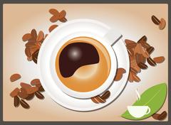 Coffee background with coffee cup and coffee beans, vector Stock Illustration