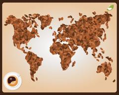 World map made of coffee beans with cup of coffee, vector - stock illustration