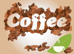 Coffee background with coffee cup and coffee beans, vector - stock illustration