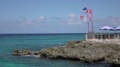 Grand Cayman Caribbean Ocean rocky shore restaurant HD Stock Footage