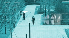 Surveillance monitor of open square, Search and analyse Stock Footage