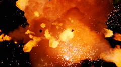 Fiery cloud hurling flaming debris toward camera Stock Footage