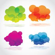 Group of four lava speech clouds - stock illustration
