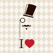 Vintage card with top hat, monocle and mustache, vector illustration - stock illustration