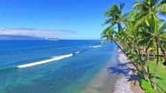 Cruise Ship anchored off of Lahaina, Maui, Hawaii Stock Footage