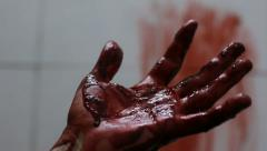 Closeup shot of Murderer's shows bloody hands - stock footage