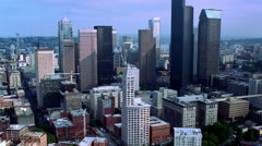 Flight over Seattle toward Lake Washington. Shot in 2000. Stock Footage