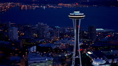 Evening flight over Seattle near Space Needle. Shot in 2000. Stock Footage