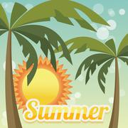 Summer holiday card with palm trees and flip flops, vector Stock Illustration