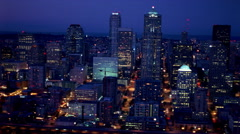 Slow night flight over downtown Seattle. Shot in 2000. Stock Footage