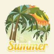 Summer holiday card with palm trees and flip flops, vector - stock illustration