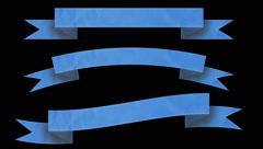 Animated ribbon banners for your text. Blue. Stock Footage