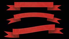 Animated ribbon banners for your text. Red. - stock footage